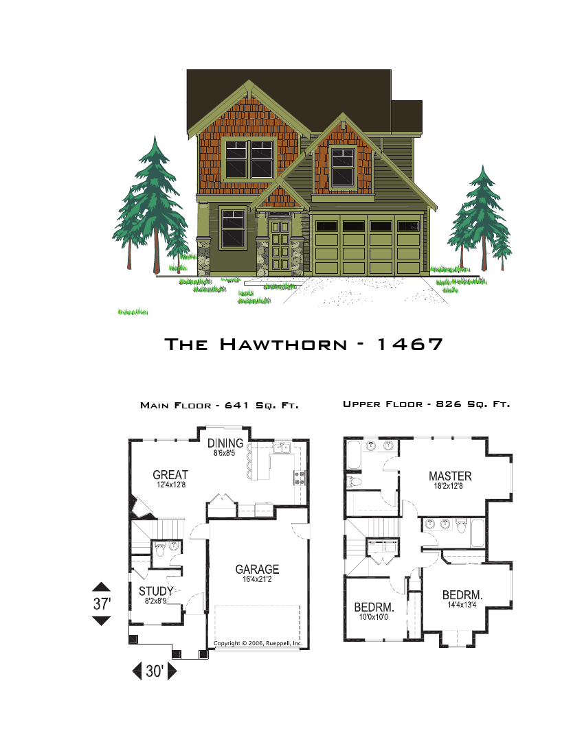 The hawthorn 1467 sq ft for Oregon home plans