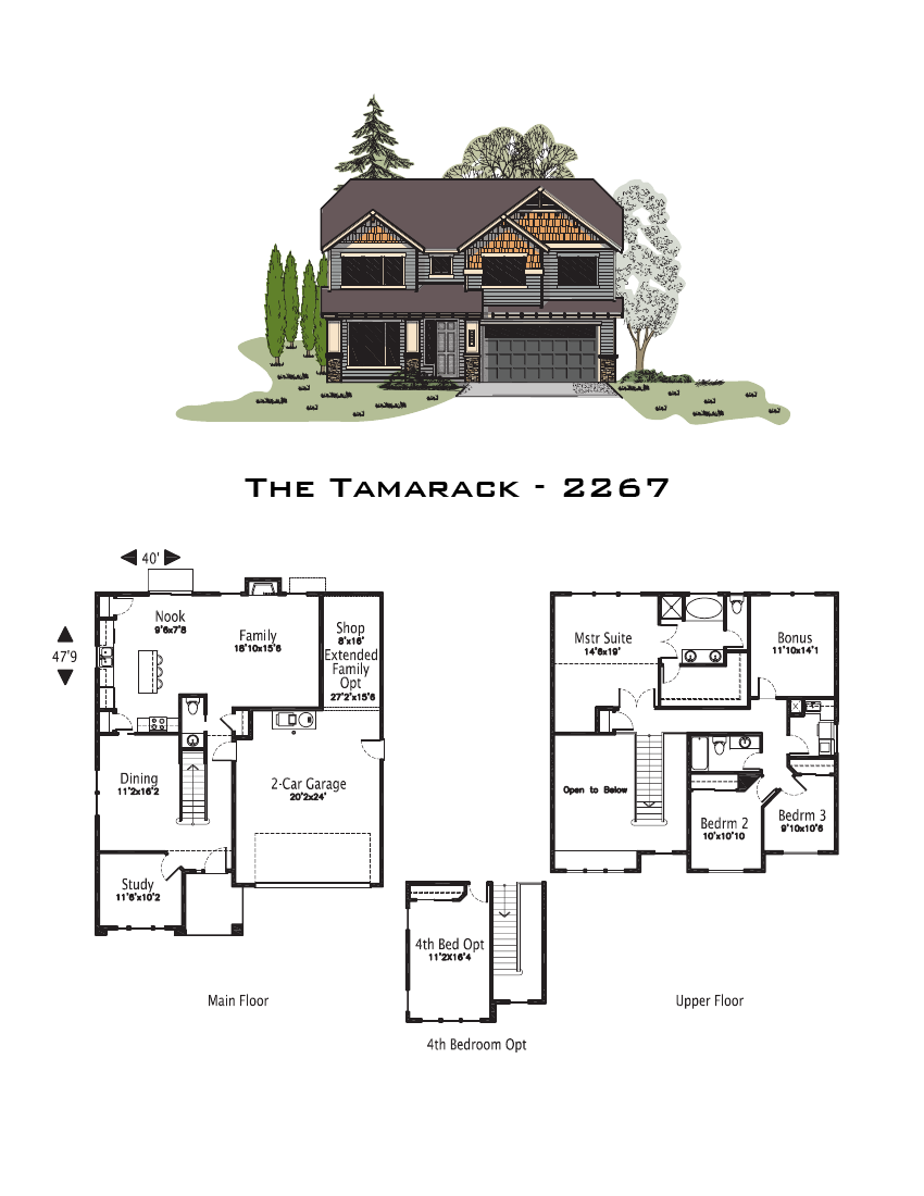 The tamarack 2267 sq ft for Oregon home plans